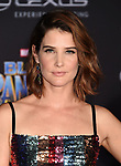 HOLLYWOOD, CA - JANUARY 29: Actor Cobie Smulders attends the premiere of Disney and Marvel's 'Black Panther' at  the Dolby Theater on January 28, 2018 in Hollywood, California.