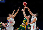 Serbia's Bogdan Bogdanovic (L) and Nemanja Bjelica (R) vies with Lithuania's Renaldas Seibutis (C) during European championship semi-final basketball match between Serbia and Lithuania on September 18, 2015 in Lille, France  (credit image & photo: Pedja Milosavljevic / STARSPORT)