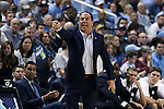 05 February 2017: Notre Dame head coach Mike Brey. The University of North Carolina Tar Heels hosted the University of Notre Dame Fighting Irish at the Greensboro Coliseum in Greensboro, North Carolina in a 2016-17 Division I Men's Basketball game. The game had been postponed one day and moved from Chapel Hill due to a water shortage. UNC won the game 83-76.