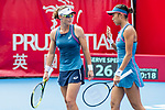Zhang Shuai of China (R) and Samantha Stosur of Australia (L) talk during during the doubles final match against Shuko Aoyama of Japan and Lidziya Marozava of Belarus at the WTA Prudential Hong Kong Tennis Open 2018 at the Victoria Park Tennis Stadium on 14 October 2018 in Hong Kong, Hong Kong. Photo by Yu Chun Christopher Wong / Power Sport Images