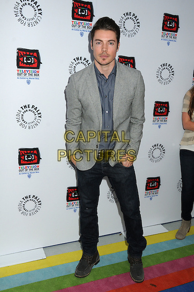 "Josh Henderson.""Television: Out Of The Box"" Museum Exhibit created by Warner Bros. Television Group held at The Paley Center, Beverly Hills, California, USA..April 12th, 2012.full length suit jacket shirt jeans denim blue grey gray stubble facial hair.CAP/ADM/BP.©Byron Purvis/AdMedia/Capital Pictures."