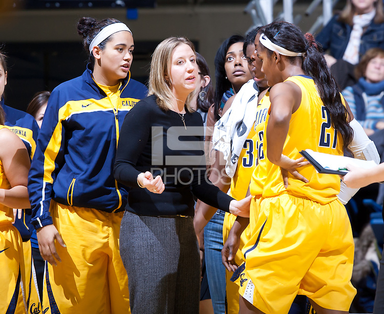 December 28th, 2012: California's head coach Linsday Gottlieb communicates with her players during a timeout vs George Washington University at Haas Pavilion in Berkeley, Ca  California defeated George Washington University 70 - 43