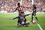 George Baldock of Sheffield Utd and Onel Hernandez of Norwich Cityduring the Premier League match at Bramall Lane, Sheffield. Picture date: 7th March 2020. Picture credit should read: Alistair Langham/Sportimage