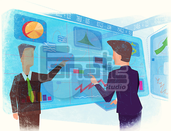 Businessmen working on virtual screen