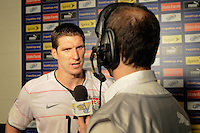 Kenny Cooper (17) of the United States (USA) us interviewed after the match. The United States (USA) defeated Panama (PAN) 2-1 during a quarterfinal match of the CONCACAF Gold Cup at Lincoln Financial Field in Philadelphia, PA, on July 18, 2009.