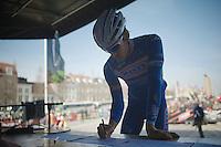 Jempy Drucker (LUX) signing in in Bruges<br /> <br /> 3 Days of West-Flanders <br /> stage 1: Brugge - Harelbeke 183km