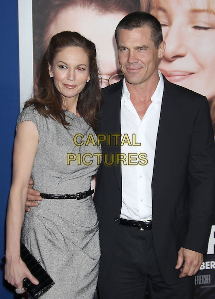 "Diane Lane & Josh Brolin.""The Guilt Trip"" Los Angeles Premiere held at the Regency Village Theatre, Westwood, California, USA..December 11th, 2012.half length dress belt grey gray black clutch bag suit white shirt married husband wife .CAP/ADM/RE.©Russ Elliot/AdMedia/Capital Pictures."