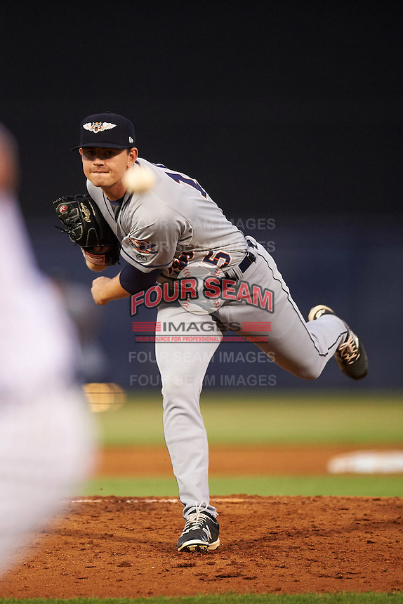Lakeland Flying Tigers starting pitcher Tyler Alexander (15) delivers a pitch during a game against the Tampa Yankees on April 8, 2016 at George M. Steinbrenner Field in Tampa, Florida.  Tampa defeated Lakeland 7-1.  (Mike Janes/Four Seam Images)