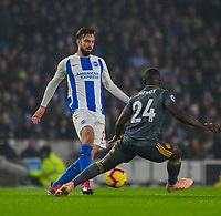 Brighton & Hove Albion's Davy Propper (left) under pressure from Leicester City's Nampalys Mendy (right) <br /> <br /> Photographer David Horton/CameraSport<br /> <br /> The Premier League - Brighton and Hove Albion v Leicester City - Saturday 24th November 2018 - The Amex Stadium - Brighton<br /> <br /> World Copyright © 2018 CameraSport. All rights reserved. 43 Linden Ave. Countesthorpe. Leicester. England. LE8 5PG - Tel: +44 (0) 116 277 4147 - admin@camerasport.com - www.camerasport.com