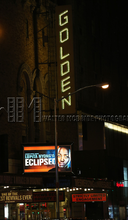 Theatre Marquee for the 'Eclipsed' broadway opening night at The Golden Theatre on March 6, 2016 in New York City.