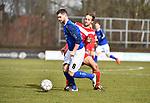 2018-03-11 / Voetbal / Seizoen 2017-2018 / VC Herentals - KFC Nijlen / Willem Brouwers (l. Nijlen) met Birger De Swert<br /> <br /> ,Foto: Mpics.be