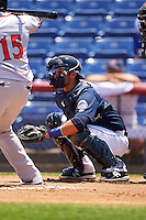 Binghamton Mets catcher Colton Plaia (26) during a game against the Richmond Flying Squirrels on June 26, 2016 at NYSEG Stadium in Binghamton, New York.  Binghamton defeated Richmond 7-2.  (Mike Janes/Four Seam Images)