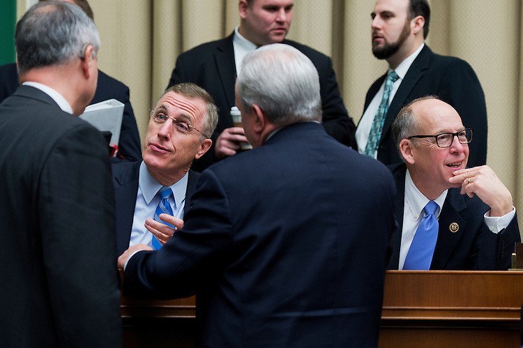 UNITED STATES - FEBRUARY 12: Reps. Tim Murphy, R-Pa., left, and Greg Walden, R-Ore., attend a House and Energy and Commerce Committee markup in Rayburn Building, February 12, 2015. (Photo By Tom Williams/CQ Roll Call)