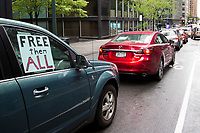 NEW YORK, NY - APRIL 24: People drive cars as they attend a protest demanding to release ICE detainees in  due to Coronavirus on April 24, 2020 in New York City. Some people in cars and bicycles approached Governor Andrew Cuomo's office to demand the opening of ICE jails in New York State, as the governor has emergency powers to order the release of all ICE detainees.Photo by Pablo Monsalve / VIEWpress via Getty Images)
