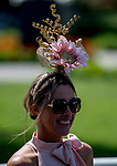 ELMONT, NY - JUNE 09: A woman wears a stylish hat on Belmont Stakes Day at Belmont Park on June 9, 2018 in Elmont, New York. (Photo by Kazushi Ishida/Eclipse Sportswire/Getty Images)