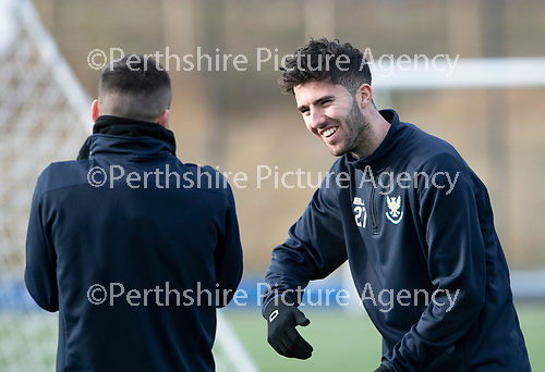 St Johnstone Training…05.02.19<br />Sean Goss having a laugh with former Rangers team mate Michael O'Halloran during training this morning at McDiarmid Park ahead of tomorrow's game at Hamilton<br />Picture by Graeme Hart.<br />Copyright Perthshire Picture Agency<br />Tel: 01738 623350  Mobile: 07990 594431