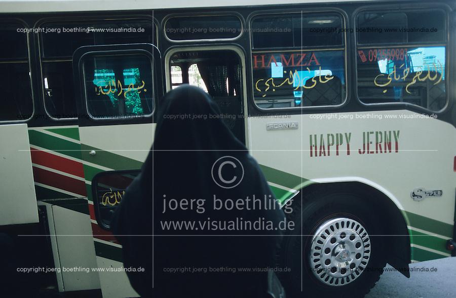 SYRIA, Damascus, Bus with Happy journey slogan / SYRIEN, Damaskus, Bus mit Aufschrift Happy Journey falsch geschrieben