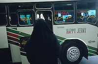 SYRIA, Damascus, Bus with Happy journey slogan, written wrong as jerny / SYRIEN, Damaskus, Bus mit Aufschrift Happy Journey falsch geschrieben