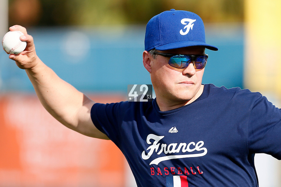 18 September 2012: Patrice Baudin throws for the batting practice during Team France practice, at the 2012 World Baseball Classic Qualifier round, in Jupiter, Florida, USA.