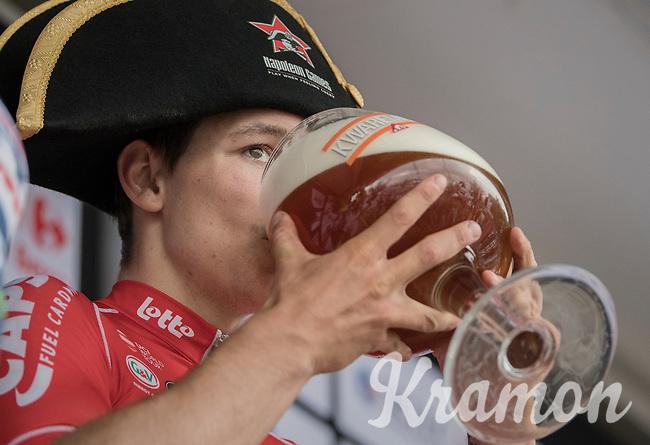 winners beer for Jasper de Buyst (BEL/Lotto-Soudal) on the podium<br /> <br /> 10th Heistse Pijl 2017