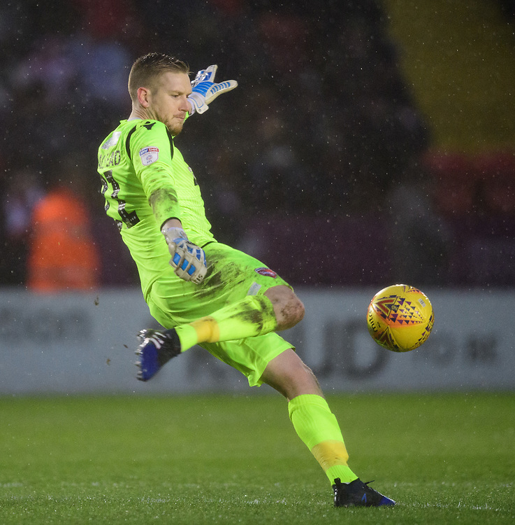 Morecambe's Mark Halstead<br /> <br /> Photographer Chris Vaughan/CameraSport<br /> <br /> The EFL Sky Bet League Two - Saturday 15th December 2018 - Lincoln City v Morecambe - Sincil Bank - Lincoln<br /> <br /> World Copyright © 2018 CameraSport. All rights reserved. 43 Linden Ave. Countesthorpe. Leicester. England. LE8 5PG - Tel: +44 (0) 116 277 4147 - admin@camerasport.com - www.camerasport.com
