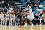 16 February 2017: Georgia Tech's Kaylan Pugh (1) and North Carolina's Jamie Cherry (right). The University of North Carolina Tar Heels hosted the Ramblin' Wreck from Georgia Tech University at Carmichael Arena in Chapel Hill, North Carolina in a 2016-17 NCAA Division I Women's Basketball game. North Carolina won the game 89-88.