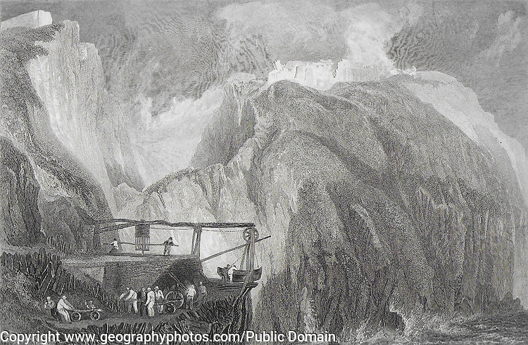 Nineteenth century engraving of Tintagel Castle, Cornwall, England, UK artist J M W Turner