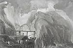 Nineteenth century engraving of Tintagel Castle, Cornwall, England, UK artist J M W Turner
