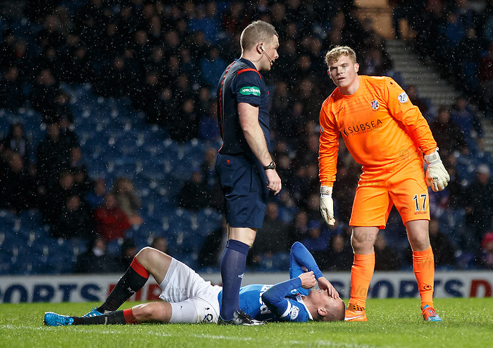 Rangers striker Kenny Miller flattened by keeper Robbie Thomson