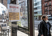 New York City, New York, Coronavirus in New York. All restaurants and businesses  considered non-essential have been shuttered and closed in New York City except for a few that continue delivery service. Thousands of workers have lost their jobs and it's anticipated many may not have the resources to reopen. 4/8/20