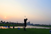Ross Fisher (ENG) tees off the the 18th tee for a playoff during Sunday's Final Round of the 2014 BMW Masters held at Lake Malaren, Shanghai, China. 2nd November 2014.<br /> Picture: Eoin Clarke www.golffile.ie
