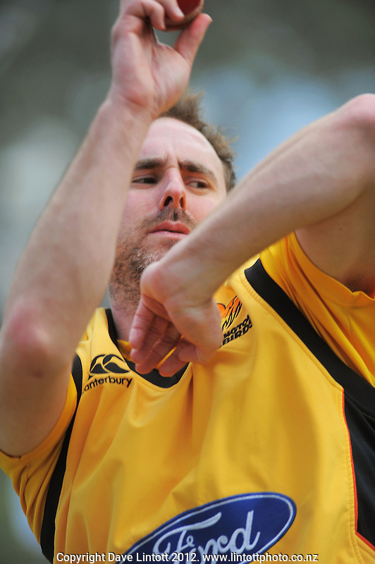 Mark Gillespie in action during the Wellington Firebirds training session at Hawkins Basin Reserve, Wellington, New Zealand on Tuesday, 2 October 2012. Photo: Dave Lintott / lintottphoto.co.nz