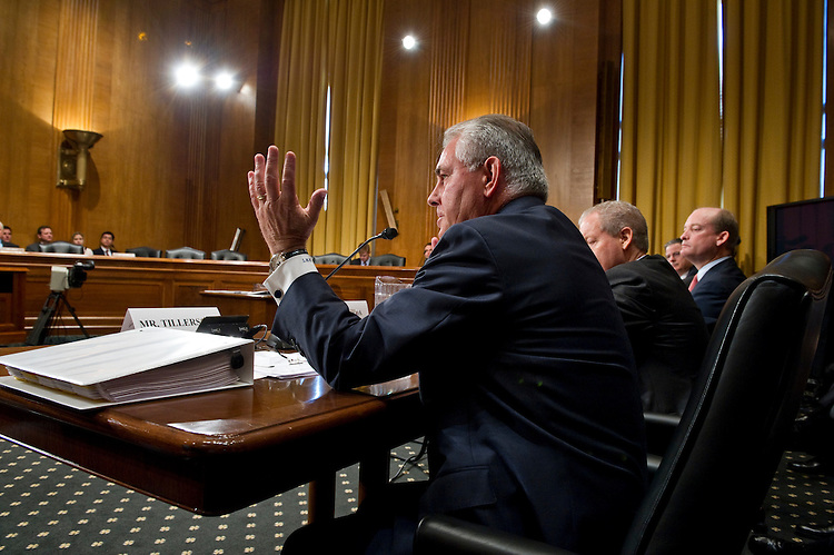 WASHINGTON, DC - May 12: Rex Tillerson, chairman and CEO of Exxon Mobil Corp., during the Senate Finance hearing on oil and gas tax incentives. Other witnesses were: John Watson, chairman and CEO of Chevron Corp.; Marvin Odum, U.S. President of Shell Oil Co.; H. Lamar McKay, chairman and president of BP America Inc.; and James Mulva, chairman and CEO of ConocoPhillips. (Photo by Scott J. Ferrell/Congressional Quarterly)