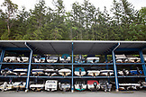 CANADA, Vancouver, British Columbia, boats stacked in a storage facility at Lions Bay, West Vancouver