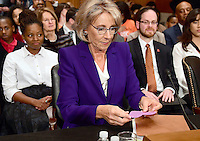 Betsy DeVos of Grand Rapids, Michigan looks over a card prior to appearing before the United States Senate Committee on Health, Education, Labor and Pensions holds a confirmation hearing considering her nomination to be US Secretary of Education on Capitol Hill in Washington, DC on Tuesday, January 17, 2017. Photo Credit: Ron Sachs/CNP/AdMedia