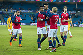 23rd March 2018, Ullevaal Stadion, Oslo, Norway; International Football Friendly, Norway versus Australia; Ola Kamara of Norway celebrates with his team mates after scoring his goal against Australia