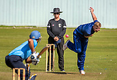 Cricket Scotland - the Citylets Scottish Cup Final between Carlton CC V Heriots CC at Meikleriggs, Paisley (Ferguslie CC) - Heriots Ellior Ruthven bowls past Umpire Billy McPate - picture by Donald MacLeod - 25.08.19 - 07702 319 738 - clanmacleod@btinternet.com - www.donald-macleod.com