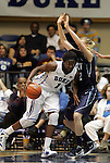 20 December 2011: Duke's Elizabeth Williams (1) and UNCW's Brittany Gamby (right). The Duke University Blue Devils defeated the University of North Carolina Wilmington Seahawks 107-45 at Cameron Indoor Stadium in Durham, North Carolina in an NCAA Division I Women's basketball game.