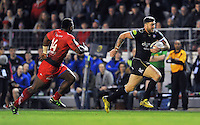 Matt Banahan of Bath Rugby goes on the attack. European Rugby Champions Cup match, between RC Toulon and Bath Rugby on January 10, 2016 at the Stade Mayol in Toulon, France. Photo by: Patrick Khachfe / Onside Images