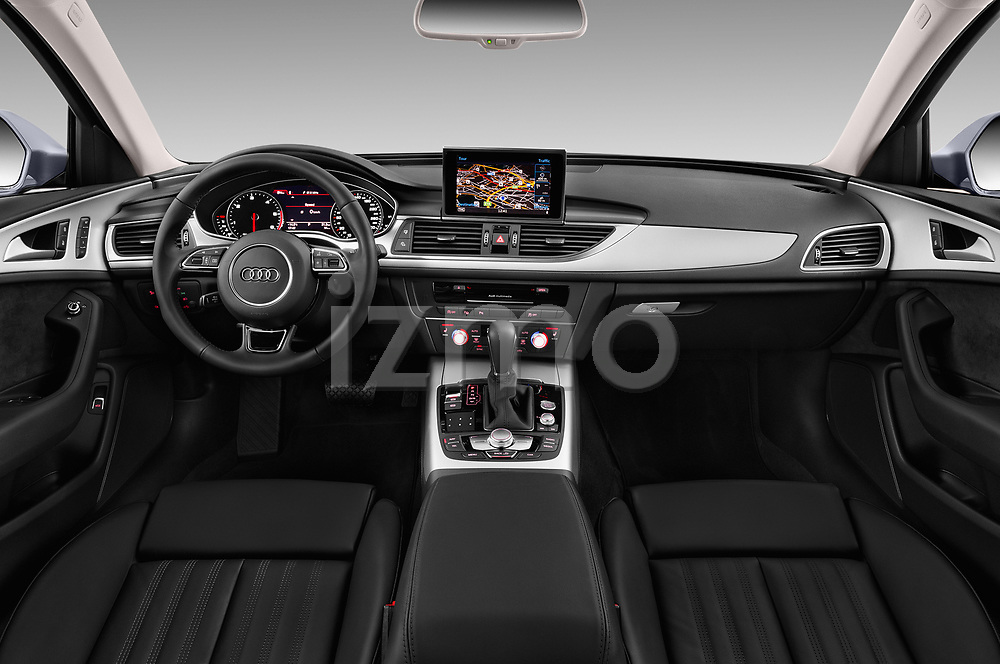 Stock photo of straight dashboard view of a 2018 Audi A6 Avant Business Edition 5 Door Wagon