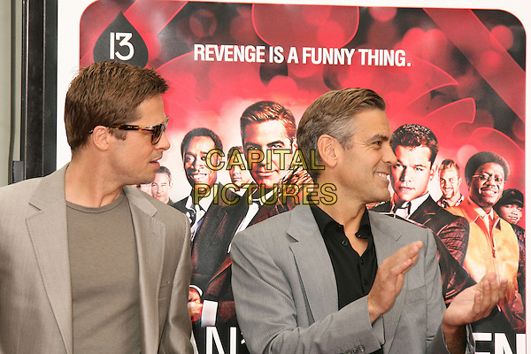 "BRAD PITT.""Ocean's Thirteen"" Handprint and Footprint Ceremony held  at Grauman's Chinese Theatre, Hollywood, California, USA..June 5th, 2007.half length beige suit jacket hands clapping grey gray profile sunglasses shades .CAP/ADM/RE.©Russ Elliot/AdMedia/Capital Pictures"