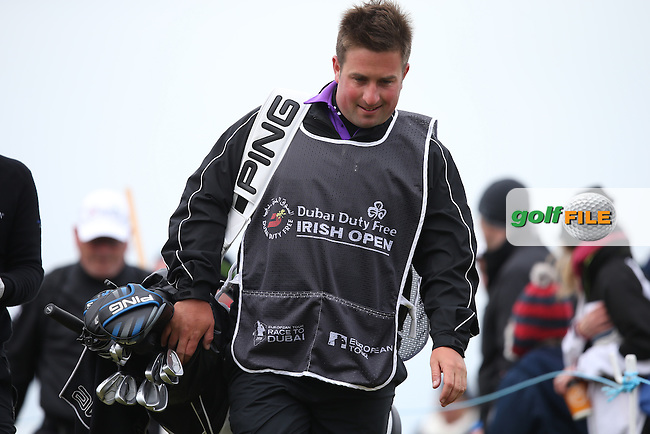 Caddie Tom Speyer during Round Three of the 2015 Dubai Duty Free Irish Open Hosted by The Rory Foundation at Royal County Down Golf Club, Newcastle County Down, Northern Ireland. 30/05/2015. Picture David Lloyd | www.golffile.ie