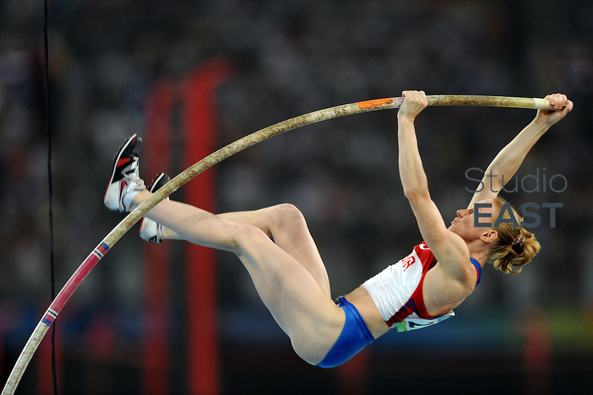 Russia's Svetlana Feofanova competes during women's pole vault final competition in Beijing Olympics, on August 18, 2008, in Beijing, China. Photo by Lucas Schifres/Pictobank/Cameleon/ABACAPRESS.COM