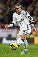 16.12.2012 SPAIN -  La Liga 12/13 Matchday 16th  match played between Real Madrid CF vs  RCD Espanyol (2-2) at Santiago Bernabeu stadium. The picture show Luka Modric (Croatian midfielder of Real Madrid)