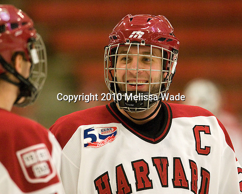 Chris Huxley (Harvard - 28) - The Merrimack College Warriors visited the Harvard University Crimson at Bright Hockey Center on Tuesday, November 30, 2010.