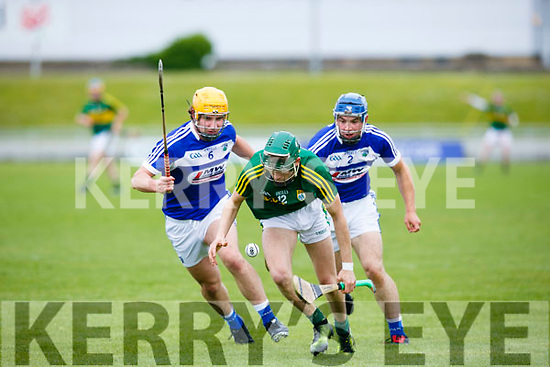 At the Leinster Senior Hurling Championship Round Robin Kerry V LAOIS at Austin Stack Park on Sunday. Pictured Kerry's Jordan Conway gets away from  LAOIS Charles Dwyer and Lee Cleere
