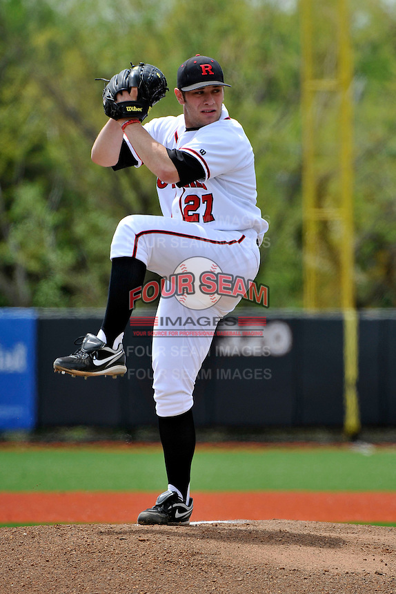 Rutgers Scarlet Knights pitcher Nathaniel Roe (27) during game against Connecticut Huskies at Bainton Field in Piscataway, New Jersey;  May 01, 2011.  Connecticut defeated Rutgers 6-2.  Photo By Tomasso DeRosa/Four Seam Images