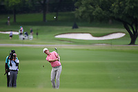 Justin Rose (GBR) hits his approach shot on 2 during round 4 of the 2019 Charles Schwab Challenge, Colonial Country Club, Ft. Worth, Texas,  USA. 5/26/2019.<br /> Picture: Golffile | Ken Murray<br /> <br /> All photo usage must carry mandatory copyright credit (© Golffile | Ken Murray)