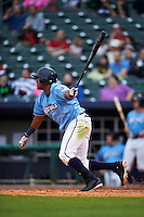NW Arkansas Naturals outfielder Jorge Bonifacio (24) at bat during a game against the San Antonio Missions on May 30, 2015 at Arvest Ballpark in Springdale, Arkansas.  San Antonio defeated NW Arkansas 5-2.  (Mike Janes/Four Seam Images)