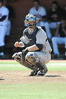 University of Connecticut Huskies catcher Max McDowell (2) during game against the Rutgers University Scarlet Knights at Bainton Field on May 3, 2013 in Piscataway, New Jersey. Connecticut defeated Rutgers 3-1.      . (Tomasso DeRosa/ Four Seam Images)